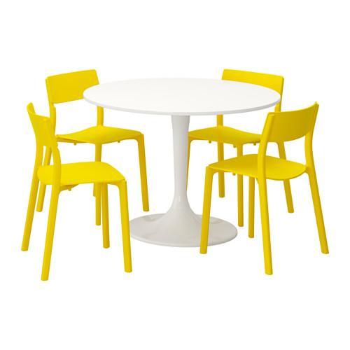 DOCKSTA JANINGE bord och 4 stol vit gul 105 cm