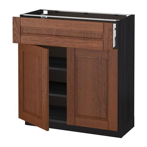 МЕТОД / МАКСИМЕРА Напольный шкаф+ящик/2дверцы - 80x37 см, Филипстад коричневый, под дерево черный