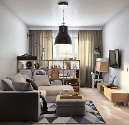 Гостиная в мягких тонах с зонированием пространства