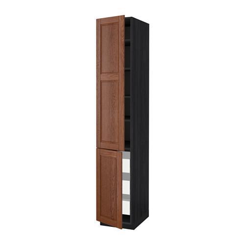 МЕТОД / МАКСИМЕРА Высокий шкаф+полки/3 ящика/2 дверцы - 40x60x220 см, Филипстад коричневый, под дерево черный