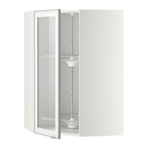 МЕТОД Углов навесн шк с врщ скц/сткл дв - 68x100 см, Ютис матовое стекло/алюминий, белый