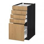 МЕТОД / МАКСИМЕРА Напольный шкаф с 5 ящиками - 40x60 см, Экестад дуб, под дерево черный