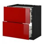 МЕТОД / МАКСИМЕРА Напольн шкаф/2 фронт пнл/3 ящика - 80x60 см, Рингульт глянцевый красный, под дерево черный