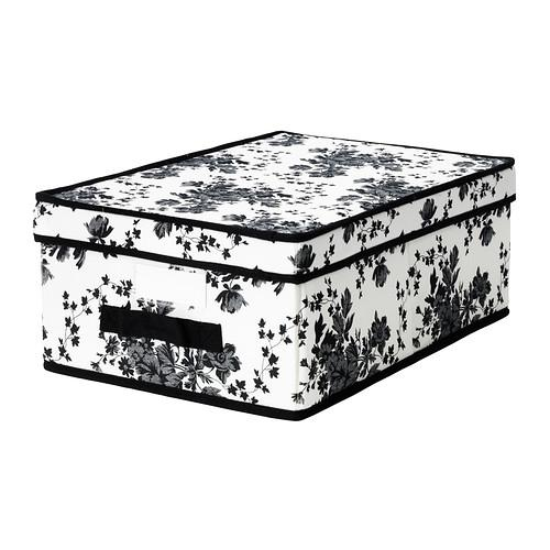 ГАРНИТУР Коробка с крышкой - черный/белый цветок