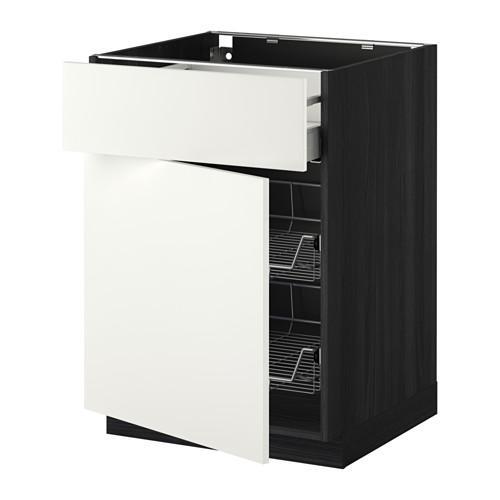МЕТОД / МАКСИМЕРА Напольн шкаф с пров корз/ящ/дверью - 60x60 см, Хэггеби белый, под дерево черный