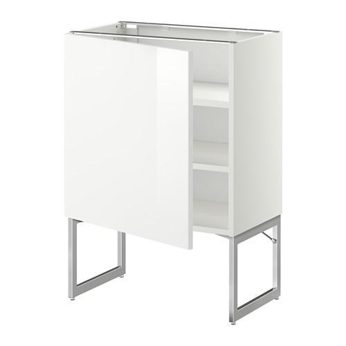 МЕТОД Напольный шкаф с полками - 60x37x60 см, Рингульт глянцевый белый, белый