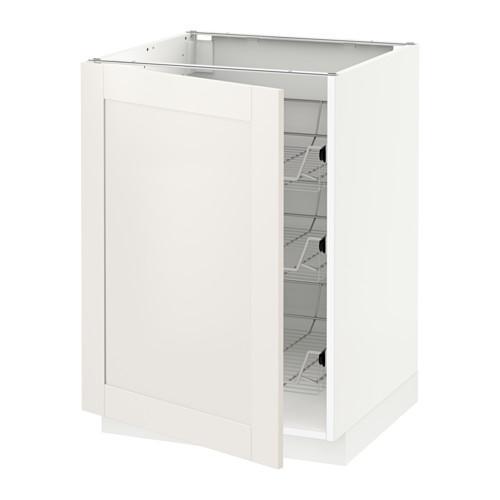 МЕТОД Напольный шкаф с проволочн ящиками - 60x60 см, Сэведаль белый, белый