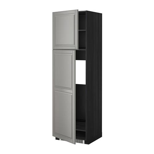МЕТОД Высокий шкаф д/холодильника/2дверцы - под дерево черный, Будбин серый, 60x60x200 см