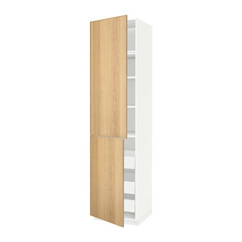 МЕТОД / МАКСИМЕРА Высокий шкаф+полки/3 ящика/2 дверцы - 60x60x240 см, Экестад дуб, белый