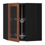 МЕТОД Углов навесн шк с врщ скц/сткл дв - 68x80 см, Филипстад коричневый, под дерево черный