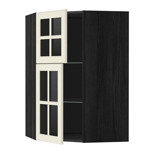 МЕТОД Углов навесной шкаф+полки/2 сткл дв - под дерево черный, Будбин белый с оттенком