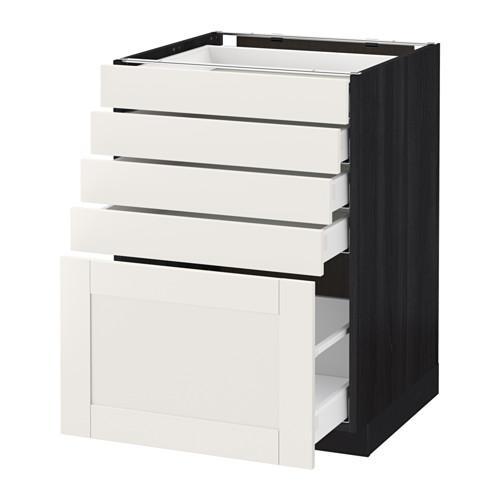 МЕТОД / МАКСИМЕРА Напольный шкаф с 5 ящиками - 60x60 см, Сэведаль белый, под дерево черный