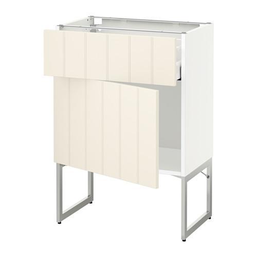 МЕТОД / МАКСИМЕРА Напольный шкаф с ящиком/дверью - 60x37x60 см, Хитарп белый с оттенком, белый