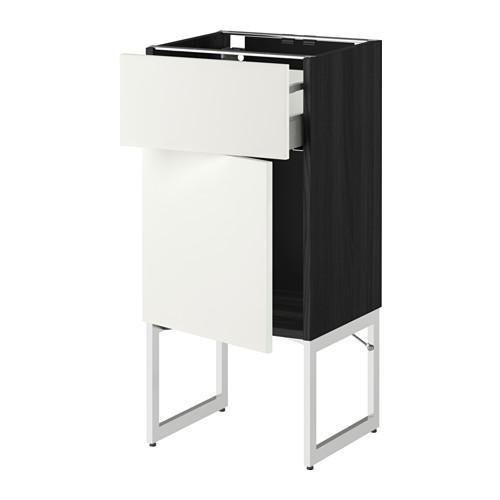 МЕТОД / МАКСИМЕРА Напольный шкаф с ящиком/дверью - 40x37x60 см, Хэггеби белый, под дерево черный