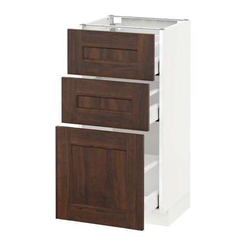 МЕТОД / МАКСИМЕРА Напольный шкаф с 3 ящиками - 40x37 см, Эдсерум под дерево коричневый, белый