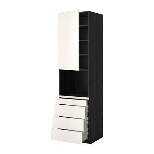 МЕТОД / МАКСИМЕРА Высокий шкаф д/комбинир СВЧ/4 ящика - 60x60x220 см, Веддинге белый, под дерево черный