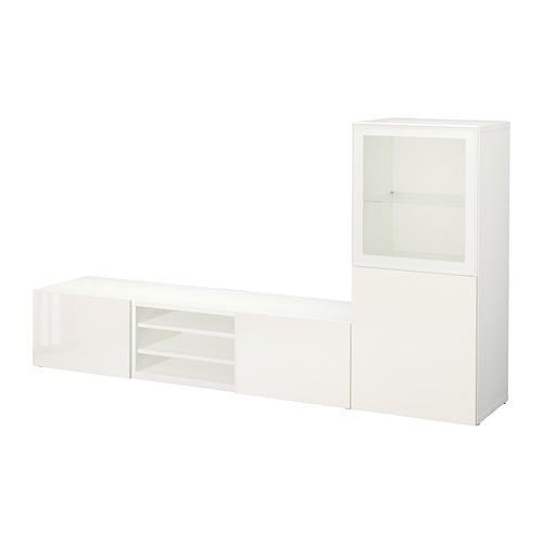 Besta moble de televisió, COMBINAT / porta de vidre - blanc / Selsviken brillantor / de vidre transparent blanc, guies de calaix, tancament suaument