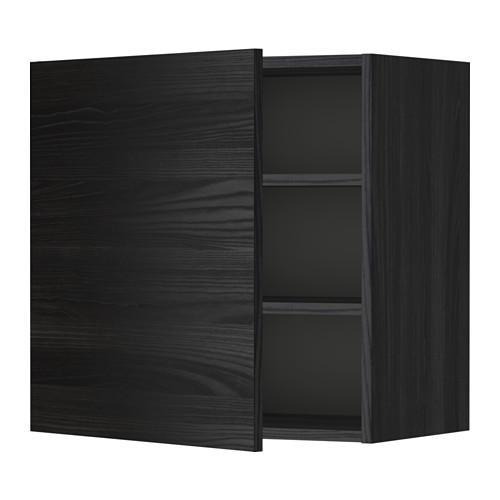 МЕТОД Шкаф навесной с полкой - 60x60 см, Тингсрид под дерево черный, под дерево черный
