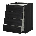 METHOD / MAXIMER Outdoor cabinet / 4 front / 4 drawer - for wood black, Tingsried for wood black, 60x60 cm