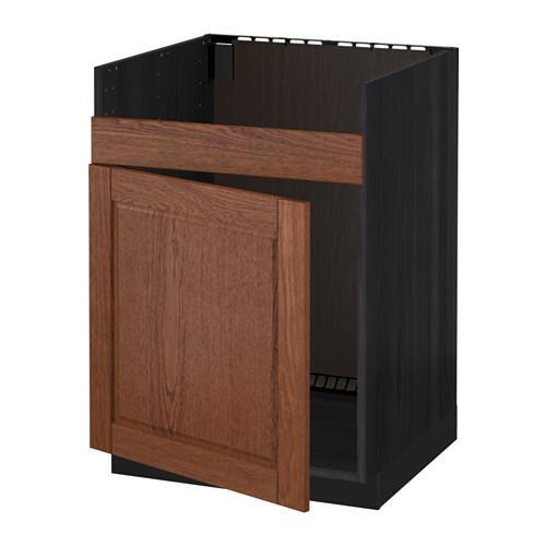 МЕТОД Нплн шкаф для одинарн мойки ДУМШЁ - Филипстад коричневый, под дерево черный
