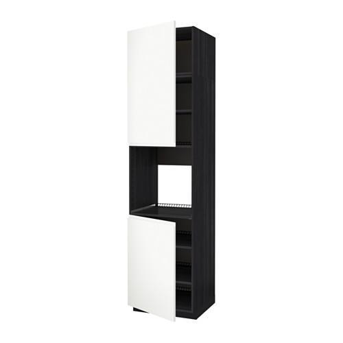 Methode Hoge Kast D Oven 2dvertsy Planken Hout Zwart Wit Vokstorp 60x60x240 Cm