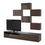 БЕСТО Шкаф для ТВ, комбинация - черно-коричневый/Сельсвикен глянцевый/коричневый, направляющие ящика,нажимные
