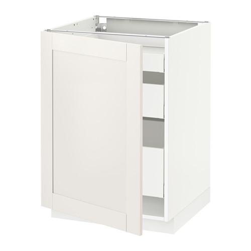 МЕТОД / МАКСИМЕРА Напольный шкаф с 1двр/3ящ - 60x60 см, Сэведаль белый, белый
