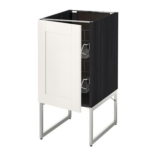 МЕТОД Напольный шкаф с проволочн ящиками - 40x60x60 см, Сэведаль белый, под дерево черный