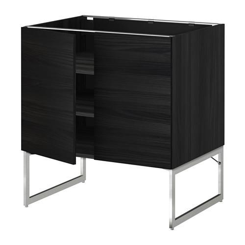 МЕТОД Напол шкаф с полками/2двери - 80x60x60 см, Тингсрид под дерево черный, под дерево черный