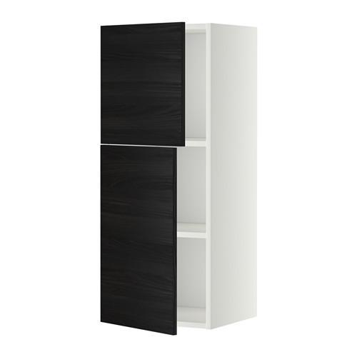 МЕТОД Навесной шкаф с полками/2дверцы - 40x100 см, Тингсрид под дерево черный, белый