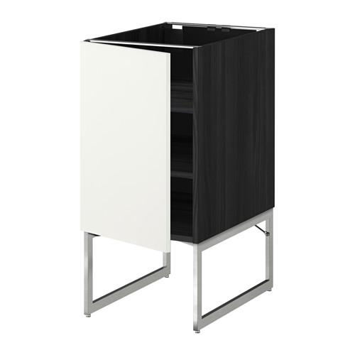 МЕТОД Напольный шкаф с полками - 40x60x60 см, Хэггеби белый, под дерево черный