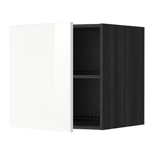 МЕТОД Верх шкаф на холодильн/морозильн - 60x60 см, Рингульт глянцевый белый, под дерево черный