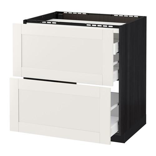 МЕТОД / МАКСИМЕРА Напольн шкаф/2 фронт пнл/3 ящика - 80x60 см, Сэведаль белый, под дерево черный
