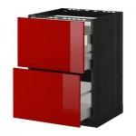 METHOD / MAKSIMERA floor cabinets / 2 front PNL / 3 box - 60x60 cm Ringult glossy red, black wood