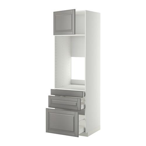 МЕТОД / МАКСИМЕРА Выс шкаф д/двойн духовки/3ящ/дверца - 60x60x200 см, Будбин серый, белый