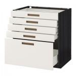 MÉTODO gabinete / FORVARA Base con cajones 5 - 80x60 cm Mersta blanco, madera negro