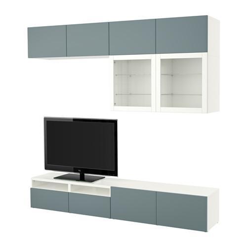 Tv Kast Ikea.Besta Tv Meubel In Combinatie Glazen Deur Wit Grijs