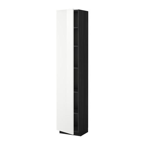 МЕТОД Высок шкаф с полками - 40x37x200 см, Рингульт глянцевый белый, под дерево черный