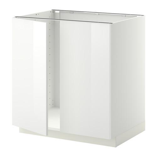 МЕТОД Напольн шкаф д раковины+2 двери - Рингульт глянцевый белый, белый