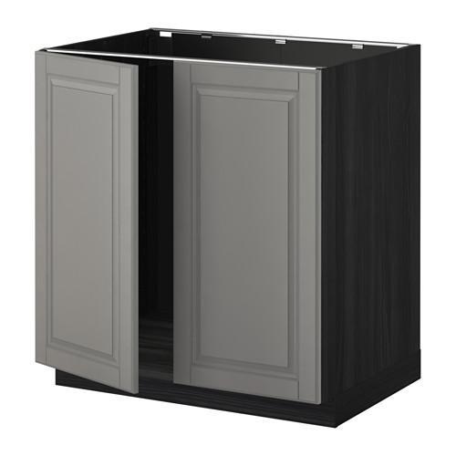 МЕТОД Напольн шкаф д раковины+2 двери - Будбин серый, под дерево черный