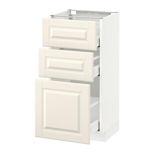 МЕТОД / МАКСИМЕРА Напольный шкаф с 3 ящиками - 40x37 см, Будбин белый с оттенком, белый