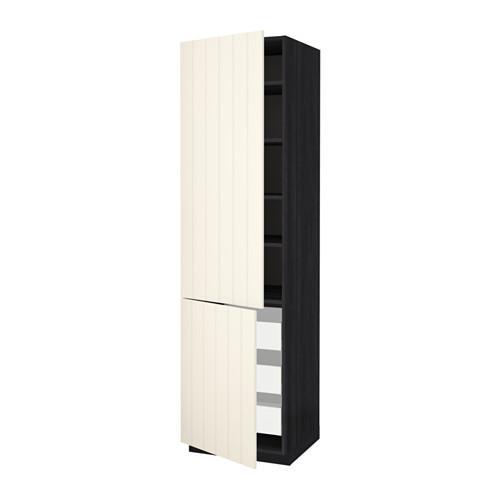 МЕТОД / МАКСИМЕРА Высокий шкаф+полки/3 ящика/2 дверцы - 60x60x220 см, Хитарп белый с оттенком, под дерево черный