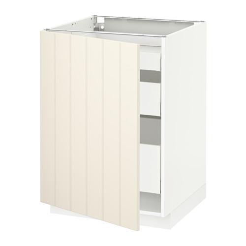 МЕТОД / МАКСИМЕРА Напольный шкаф с 1двр/3ящ - 60x60 см, Хитарп белый с оттенком, белый
