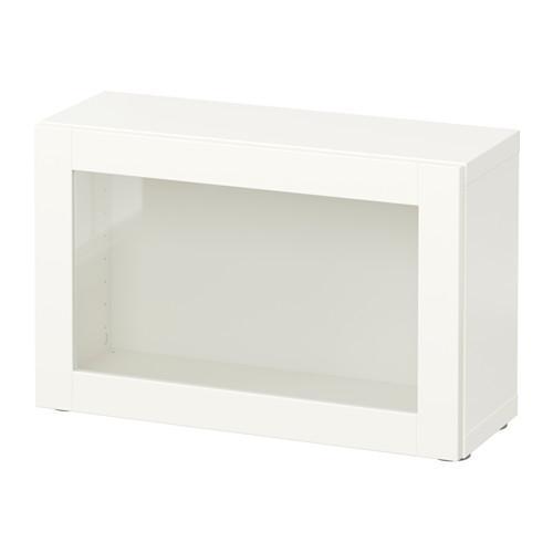 БЕСТО Стеллаж со стеклянн дверью - Синдвик белый