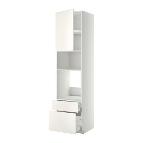 МЕТОД / МАКСИМЕРА Высок шкаф д/духовки/СВЧ/дверца/2ящ - 60x60x240 см, Веддинге белый, белый