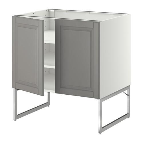МЕТОД Напол шкаф с полками/2двери - 80x60x60 см, Будбин серый, белый