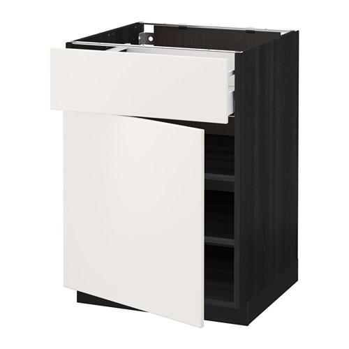 МЕТОД / МАКСИМЕРА Напольный шкаф с ящиком/дверью - 60x60 см, Веддинге белый, под дерево черный