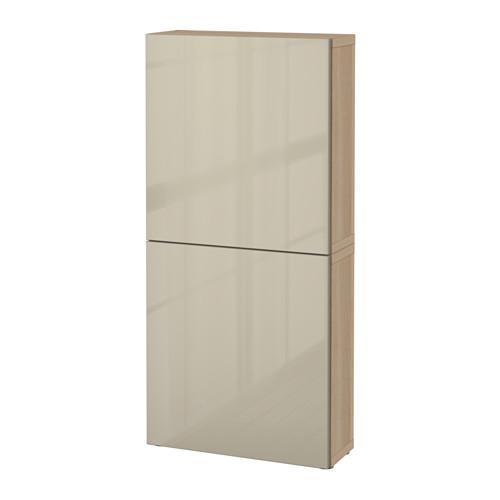 БЕСТО Навесной шкаф с 2 дверями - под беленый дуб/Сельсвикен глянцевый/бежевый