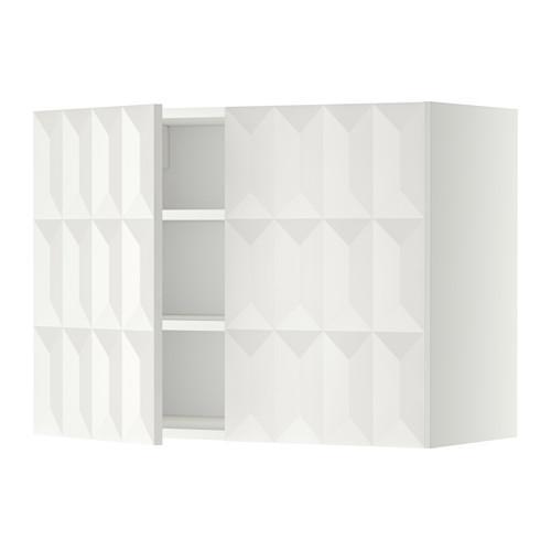 МЕТОД Навесной шкаф с полками/2дверцы - 80x60 см, Гэррестад белый, белый