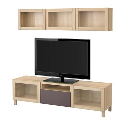 best meuble tv combin porte en verre un ch ne blanchi valviken brun fonc verre. Black Bedroom Furniture Sets. Home Design Ideas